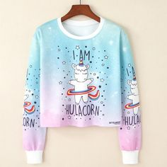 Cheap sweatshirt women, Buy Quality kawaii sweatshirt directly from China crop top jumper Suppliers: 2017 Harajuku Kawaii Sweatshirt Women Kpop Clothes Cropped Pullover Pineapple Unicorn Christmas Print Casual Crop Top Jumper Cropped Pullover, Crop Top Hoodie, Cropped Sweater, Girls Crop Tops, Blue Crop Tops, Ladies Tops, Girl Outfits, Cute Outfits, Fashion Outfits