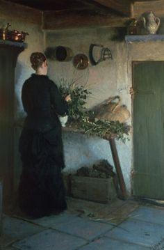 Viggo Johansen - Lady in the kitchen Pierre Bonnard, Mary Cassatt, Camille Pissarro, Henri Matisse, Art Pictures, Art Images, Art Pics, Vincent Van Gogh, Monet