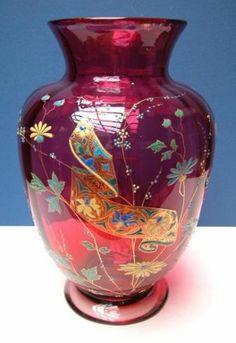 Monumental Moser Cranberry Glass Vase w Enamel Decoration C 1880   eBay