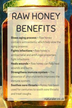 Raw Honey Benefits - List of the health benefits of raw, unpasteurised honey. Pure Honey Benefits, Honey Health Benefits, Health And Beauty Tips, Health Tips, Health And Nutrition, Health And Wellness, Brain Healthy Foods, Healthy Liver, Raw Manuka Honey