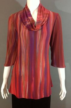 Shibori, hand-dyed blending reds and purples. Fitted bodice with a wider hip area. Color Blending, Fitted Bodice, Shibori, Cowl Neck, Tunic Tops, Silk, Purple, Blouse, Clothing