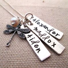 Personalized Jewelry - Day Dream - Mothers Necklace with Dragonfly - hand stamped jewelry Gift for Mom Grandma