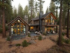 Rustic Home Exteriors 17 Rustic Mountain House Exterior Design Ideas Style Motivation Images Cabins In The Woods, House In The Woods, House Near Lake, Cottage In The Woods, Plan Chalet, Hgtv Dream Homes, Rustic Houses Exterior, Cabin Exterior Colors, Rustic Lake Houses