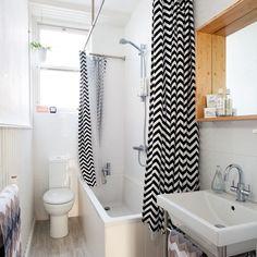 White bathroom with black shower curtain | Bathroom decoration | Ideal Home | Housetohome.co.uk