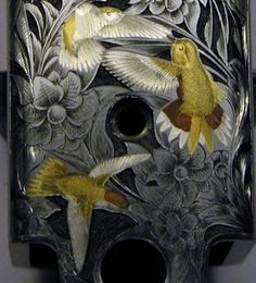 Thierry Duguet Engraver.Engraved Winchester Model 21 double rifles floral patterns deep relief and multicolor inlays, bottom details.