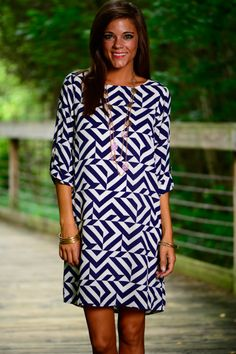 This shift dress is so fun and pretty! The unique pattern gives it some edge plus it still looks so sophisticated! The navy and white combo is a knock out!