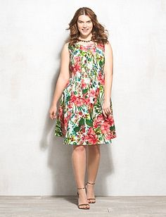 Plus Size Tropical Floral Fit-and-Flare Dress- i just bought this! :D