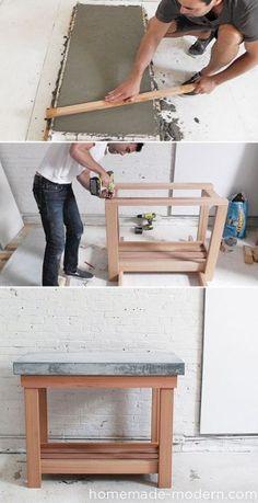 Betonnen bovenblad, voor keuken, tafel, etc. Meer info, tekening en volledige werkbeschrijving met video zie de site: Homemade Modern en zoek op: EP38 Wood + Concrete kitchen island.