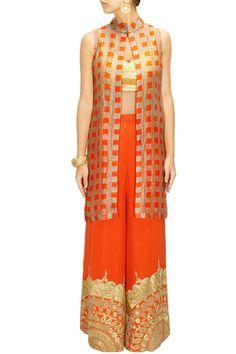 Nidhi Agarwal Orange printed jacket with orange sharara and blouse $758