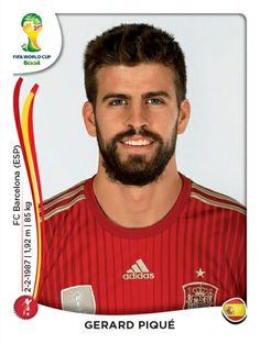 Gerard Pique of Spain. 2014 World Cup Finals card. Football Stickers, Football Cards, Football Soccer, Football Players, World Cup 2014, Fifa World Cup, Manchester City, Spain Soccer, Everton Fc