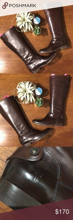 Melissa Button Back Zip Frye Boots in Dark Brown Great condition Frye boots. Only worn three times. Size in 9.5 B. Minimal creasing as shoes were stored with shoe trees and boot shapers. Frye Shoes Winter & Rain Boots