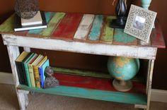 Love this Shelf  http://www.junkmarketstyle.com/item/40257/colorful-pallet