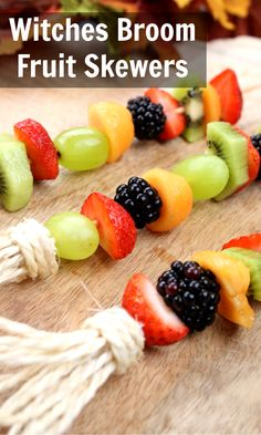 What a wonderful idea for Halloween! This idea works for kids and adult alike! #halloweentreats #healthyhalloweentreats #witchesbrooms #kidshalloweenideas #easyhalloween Healthy Halloween Treats, Easy Halloween, Creative Activities, Holiday Activities, Fun Crafts For Kids, Projects For Kids, Fruit Skewers, Train Up A Child, Play Food