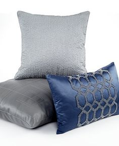 Hotel Collection Quadre Blue x Decorative Pillow Navy Blue Pillows, Blue Duvet, Grey Pillows, Throw Pillows Bed, Hotel Pillows, White Duvet Covers, Pillows Online, Leather Pillow, Bath