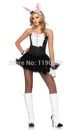Free shipping Ladies Sexy Easter Bunny Rabbit Costume Halloween Party Fancy Dress