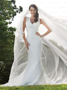 Sheath/Column V-neck Lace Satin Chapel Train White Sequins Wedding Dresses at Millybridal.com