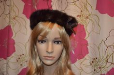 Cute Vintage real fur beret style hat with by ClaireLouVintage