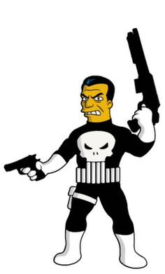 The Simpsons Punisher by Dean Fraser. In this one case, the white gloves and boots are okay.