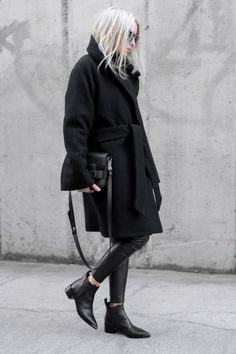 Chic Style - all black outfit with belted wool coat