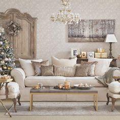 Gold Christmas living room   Living room decorating   Ideal Home   Housetohome.co.uk