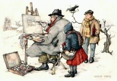 Painter in the snow - Anton Pieck