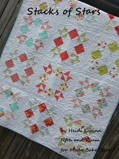 Stacks of Stars Quilt. 1 layer cake (use 24 squares) 3 yds white, 1/2 yd binding, 23/4 backing yields 44x 58
