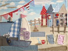 Boat/Beach Hut - like tar beach idea - like the huts of fabric Freehand Machine Embroidery, Free Motion Embroidery, Free Machine Embroidery, Embroidery Applique, Sewing Appliques, Applique Patterns, Quilt Patterns, Beach Quilt, Sewing Crafts