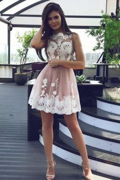 High Fashion A-Line Bateau Tulle Short Homecoming Dress with White Lace,Prom Dresses OK329