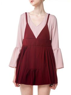 Shop Mini Dresses - Skater V Neck Girly Frill Sleeve Spandex Mini Dress online. Discover unique designers fashion at StyleWe.com.