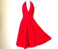 Red Halter - Sexy Dress - Cotton - Circle Skirt - Resort - Sophisticated - Tea…