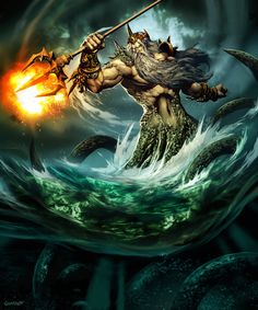 Poseidon is the Greek god of the sea, protector of all waters. He is the brother of Zeus & Hades. After the overthow of their Father Cronus he drew lots with his two brothers. His prize was to become lord of the sea. He married Amphitrite.His weapon is a trident, which can shake the earth, and shatter any object. He is second to Zeus in power amongst the gods.