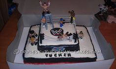 Cool WWE Wrestling Cake made with Buttercream Icing. This website is the… Wrestling Birthday Cakes, Wrestling Cake, Wrestling Party, Wwe Birthday, Cool Birthday Cakes, Boxing Gloves Cake, Buttercream Icing Cake, Wwe Cake, Wwe Party