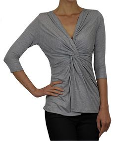 Look at this Pastels Heather Gray Twist-Front Top on #zulily today!