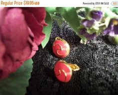 Coral Earrings Ying Yang Gold Metal Clip On by SpringJewelryThings