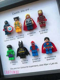 Your place to buy and sell all things handmade LEGO Superheroes Frame Dad Daddy Teacher Avengers Board: DIY Ideen und DIY Projekte Source by lavendelb. Your place to buy and sell all things handmade Diy Gifts For Dad, Diy Father's Day Gifts, Father's Day Diy, Daddy Gifts, Diy Christmas Gifts, Gifts For Him, Christmas Presents For Dad, Christmas Ideas, Saint Valentin Diy