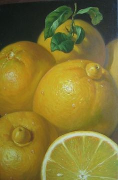 Lemon Ice Box Pie -- Posted on Louisiana Cooking (Painting -  Lemons, by Alfredo Gomez)