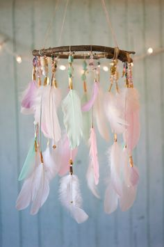 colourful feather mobile nursery decor 40 Adorable Nursery Decorating Ideas — RenoGuide - Australian Renovation Ideas and Inspiration Diy Room Decor, Nursery Decor, Nursery Ideas, Bedroom Ideas, Feather Mobile, Dream Catcher Mobile, Dream Catcher Boho, Dream Catcher Bedroom, Colorful Feathers