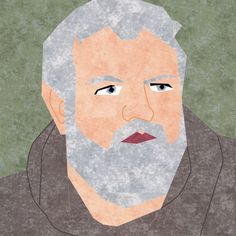 """Fandom In Stitches: Game of Thrones Hodor by misha29 10"""" Paper Pieced and Embroidered Free from fandominstitches.com Free for personal and non-profit use only"""