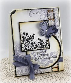 Stamps: New Mercies, Chicks Rule (Verve Stamps) Paper: Black, White, Wisteria Wonder (SU!) Ink: Black, Wisteria Wonder (SU!), Antique linen (Ranger Distress) Accessories:  Flutterby Die (A Cut Above by VERVE), Classic Circle Nestabilities (Spellbinders), Filmstrip ribbon (Tim Holtz), Wisteria Wonder ribbon (SU!), Sizzix embossing folder, rhinestones (Pizzazz Aplenty), chunky glass glitter