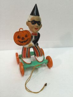 Vintage Halloween Rosbro PARTY GOER MAN ON WHEELS HARD PLASTIC CANDY CONTAINER