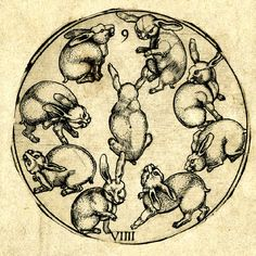 Nine of hares; roundel from a pack of 52 playing-cards after the Monogrammist PW; cut along the outline of the roundel and pasted onto a square sheet. Engraving Producer nameAfter: Monogrammist PW of Cologne Print made by: Telman von Wesel  School/styleGerman  Date1499-1510