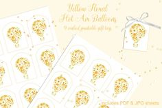9 Printable Gift Tags: Yellow Floral Hot Air Balloons By Marcy Coate