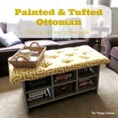 The Happy Chateau: Painted & Tufted Ottoman from an old Ikea coffee table ~ shared at DIY Sunday Showcase Link Party on (Saturdays at CST). Coffee Table Hacks, Ikea Coffee Table, Diy Furniture Redo, Diy Furniture Projects, Furniture Refinishing, Ikea Leksvik, Tufted Ottoman, Diy Party, House Styles