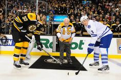 B's legend Milt Schmidt was on hand last night to drop the ceremonial puck, just 2 days after his 95th birthday.