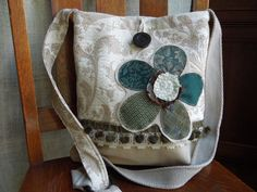 CROSSBODY Bag, Shabby chic Upcycled Bag - Neutral, Hip Bag, Boho Slouch Purse, Floral Applique Hobo Bag