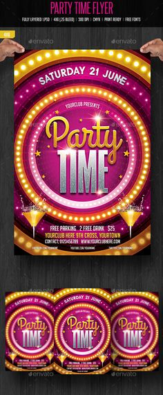 Party Time Flyer — Photoshop PSD #summer cocktail #entertainment • Download here → https://graphicriver.net/item/party-time-flyer/11297448?ref=pxcr