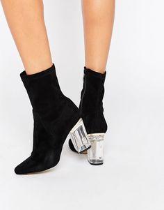 Public Desire – Ema – Schwarze Ankle-Boots mit transparentem Absatz