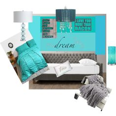 """Blue and grey bedroom revised"" by tinaw1414 on Polyvore"