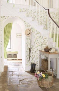 Laura Ashley - Wallpaper - English Rooms - Stair cases - English Decorating. Spring / Summer Room. Beautiful!
