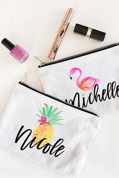 These colorful personalized cosmetic pouches are the perfect bridesmaid gift!   Personalized Tropical Beach Canvas Cosmetic Bags   Bridal Party Gift Ideas   Bridesmaid Proposal   Wedding Party Gifts   Bachelorette Party Favors   #bridesmaidsgifts #bridesmaidproposal